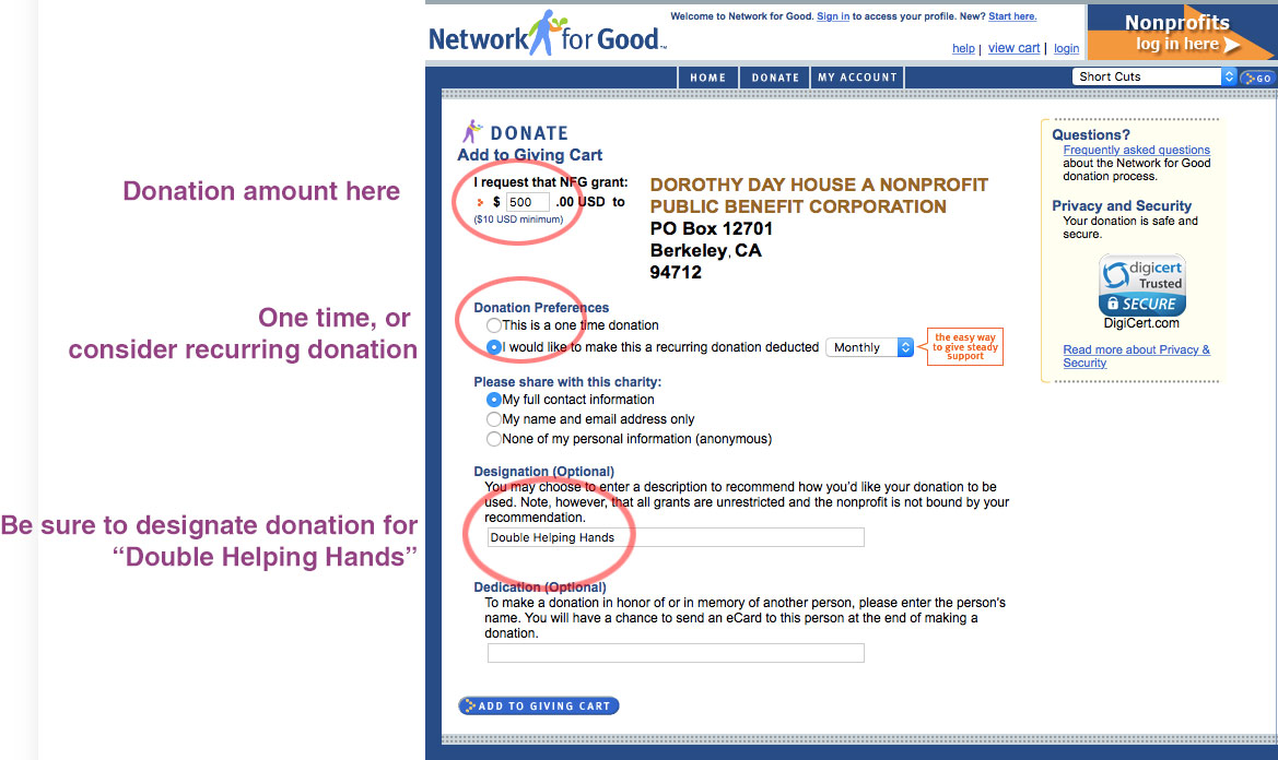 Donation Instructions